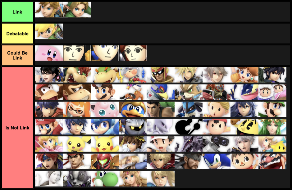 Tier List Of Whether Or Not A Character Is Link: Ultimate Edition